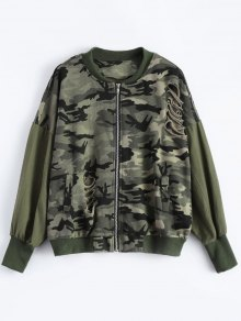 Distroyed Camo Bomber Jacket