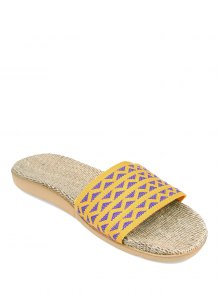 Geometric Pattern Linen Color Block House Slippers - Yellow