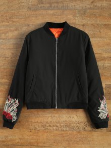 Lined Embroidered Bomber Jacket