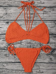 String Crochet High Leg Bikini Set
