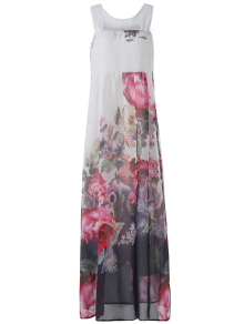 Sleeveless Chiffon Maxi Floral Dress - White