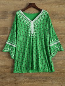 Printed Mini Tunic Dress - Green M