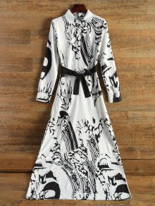 Chinese Painting Chiffon Maxi Dress - Off-white