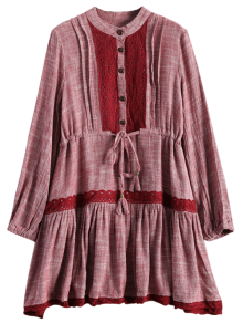 Long Sleeve Lace Bib Smock Dress - WINE RED S