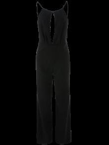 Buy Plunge Keyhole Wide Leg Palazzo Jumpsuit S BLACK