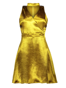 Mini Metallic Satin Choker Dress - Golden Xl