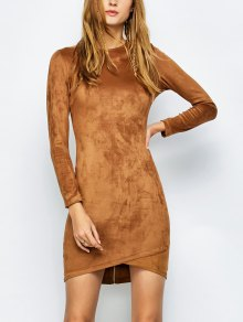 Back Zip Faux Suede Bodycon Dress - Camel S