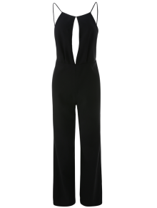 Plunge Keyhole Wide Leg Palazzo Jumpsuit - Black L