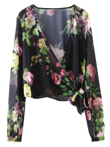 Knotted Cropped Surplice Floral Blouse