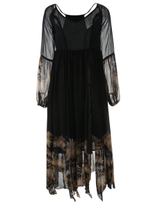 Long Sleeve Printed Maxi Chiffon Dress
