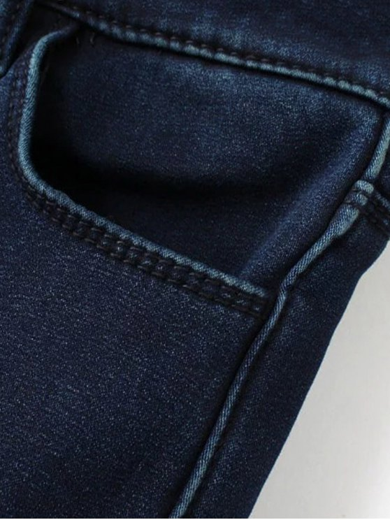 Super Elastic Wool Blend Pencil Jeans - DEEP BLUE L Mobile
