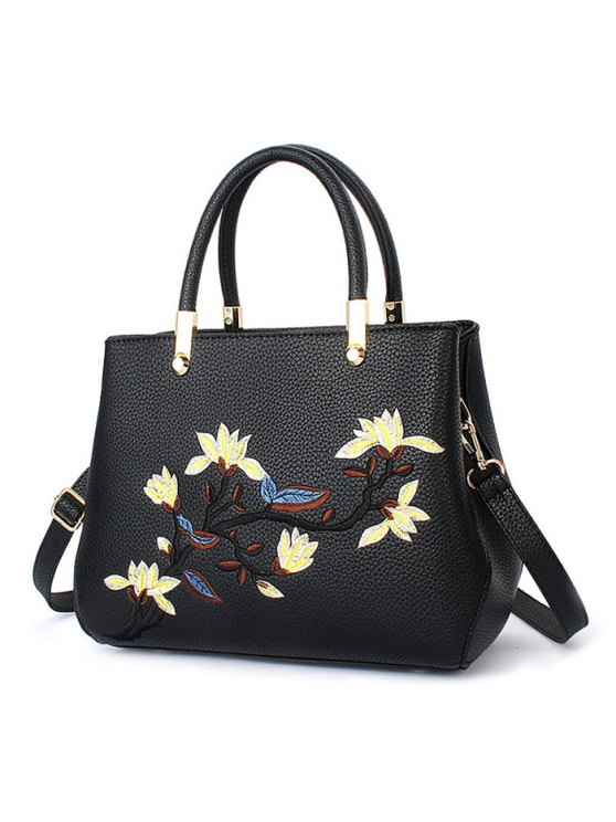 Flower Embroidered Metal Detail Handbag - BLACK  Mobile