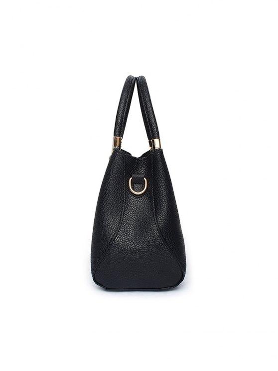 Flower Embroidered Metal Detail Handbag - DEEP BLUE  Mobile