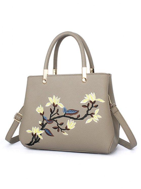 Flower Embroidered Metal Detail Handbag - KHAKI  Mobile