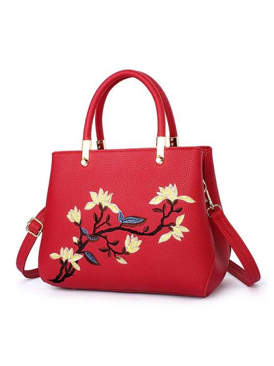 Flower Embroidered Metal Detail Handbag - RED  Mobile