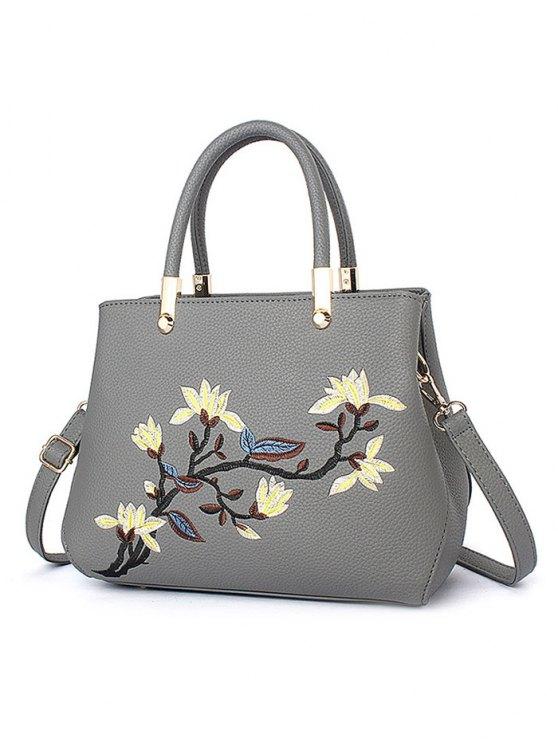 Flower Embroidered Metal Detail Handbag - GRAY  Mobile