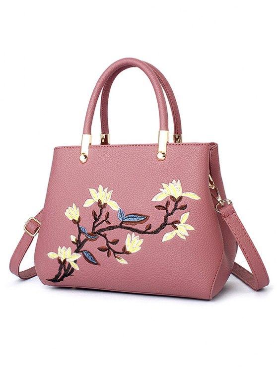 Flower Embroidered Metal Detail Handbag - PEONY PINK  Mobile