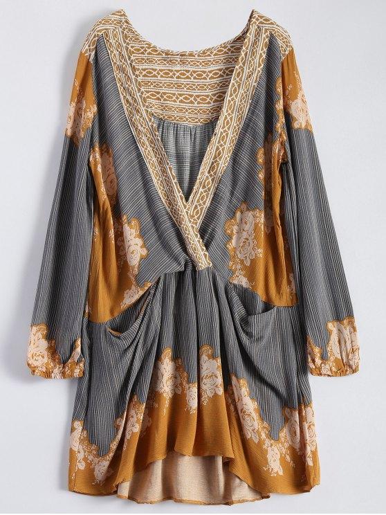 buy Long Sleeve Floral Surplice Dress - YELLOW M