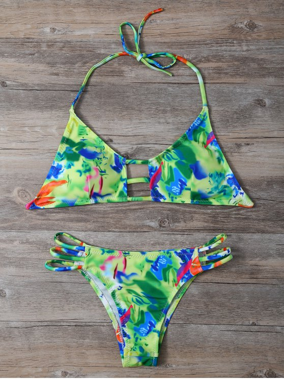 Halter Colorful découpe Bikini - Multicolore L