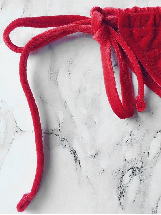 Velvet String Bikini Swimwear - RED L Mobile