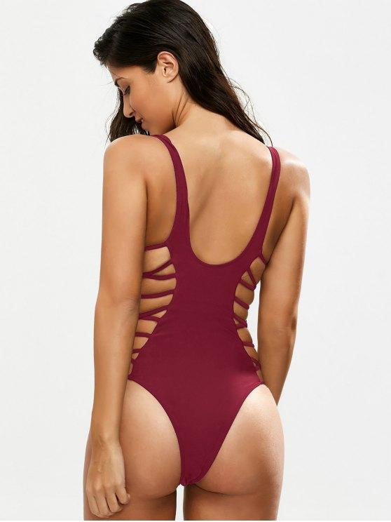 Crisscross Strap Cut Out Swimsuit - BURGUNDY XL Mobile