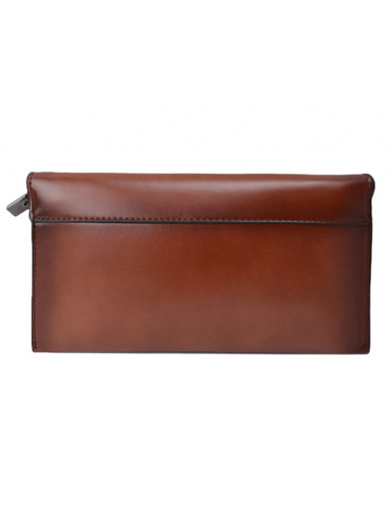 Waxed Leather Flapped Clutch Bag - BROWN  Mobile
