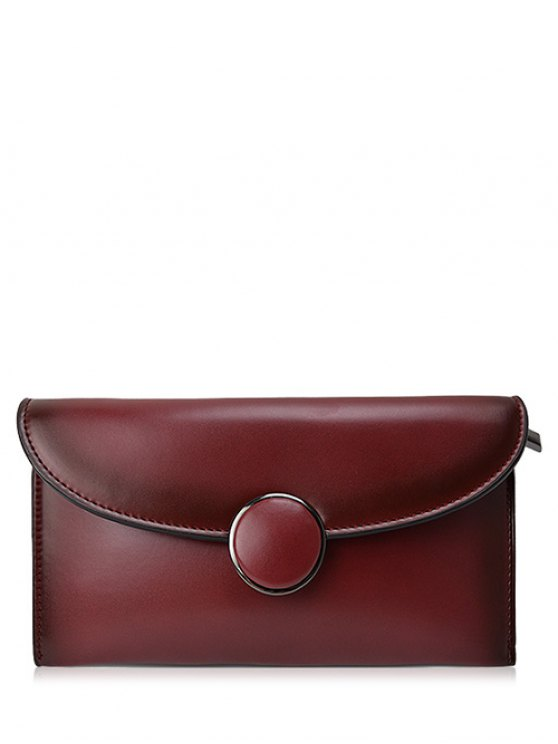 Waxed Leather Flapped Clutch Bag - CLARET  Mobile