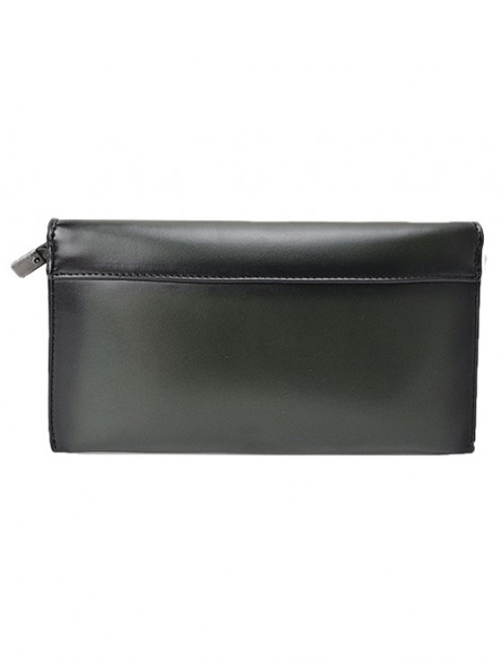 Waxed Leather Flapped Clutch Bag - GREEN  Mobile