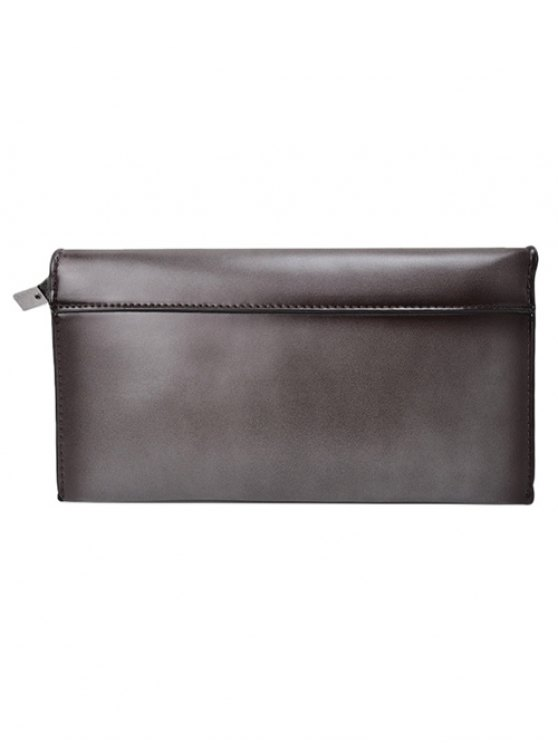 Waxed Leather Flapped Clutch Bag - GRAY  Mobile
