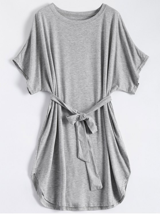 womens Belted Casual Mini Dress - GRAY S