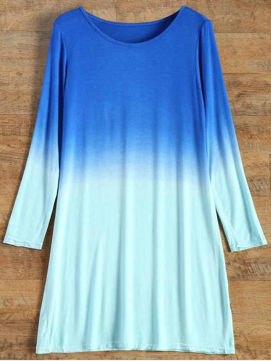 fashion Long Sleeve Ombre T-Shirt Dress - TURQUOISE S