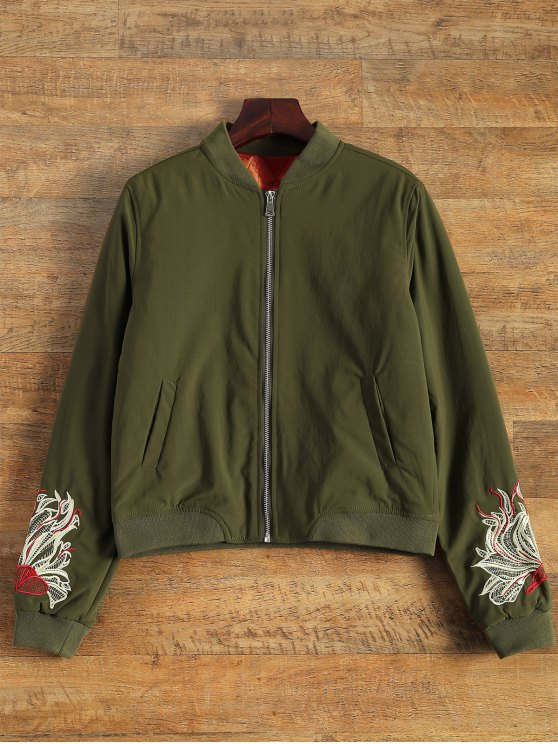 latest Lined Embroidered Bomber Jacket - ARMY GREEN L
