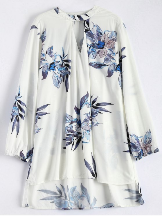 lady High Low Flower Print Tunic Blouse - WHITE ONE SIZE