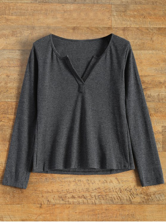 new Long Sleeve Notched Pullover Knit Top - GRAY L