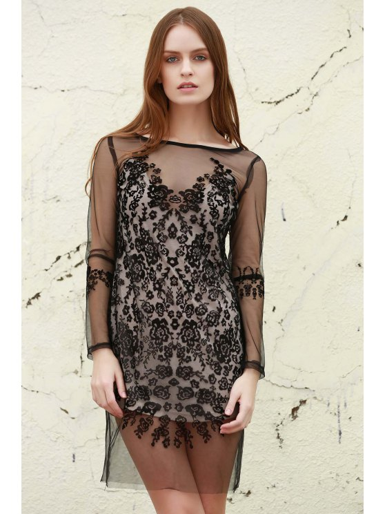 Mesh See-Through Lace Dress - BLACK ONE SIZE Mobile