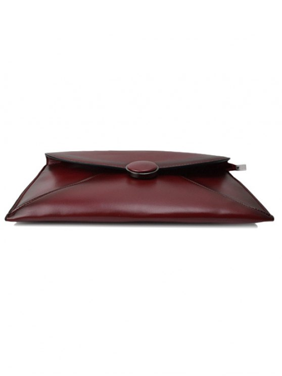 Waxed Leather Envelope Clutch Bag - CLARET  Mobile