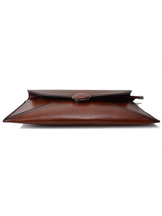 Waxed Leather Envelope Clutch Bag - BROWN  Mobile