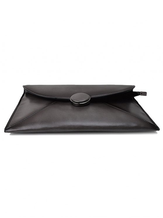 Waxed Leather Envelope Clutch Bag - GRAY  Mobile