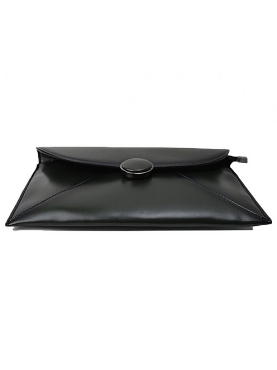 Waxed Leather Envelope Clutch Bag - GREEN  Mobile