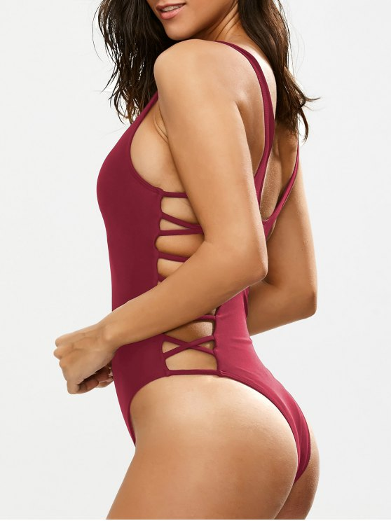 Crisscross Strap Cut Out Swimsuit - BURGUNDY M Mobile