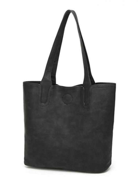 Casual Tote Bag with Interior Bag - BLACK  Mobile