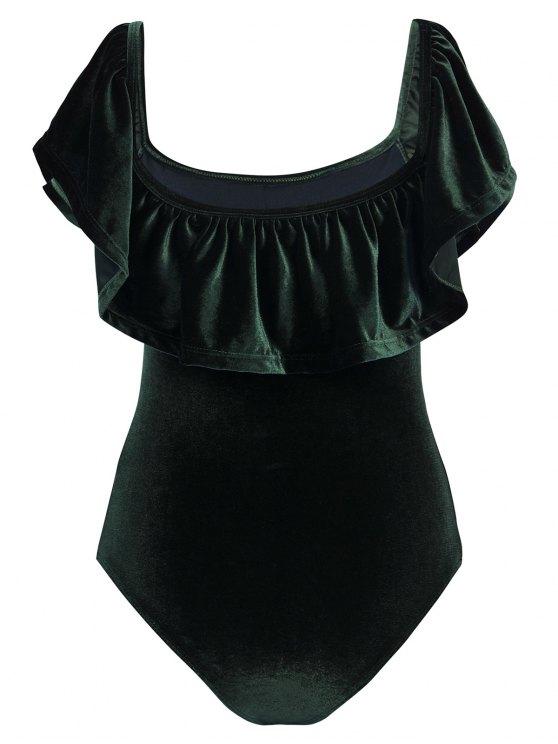 Off The Shoulder Flounced Velvet Swimwear - BLACKISH GREEN L Mobile