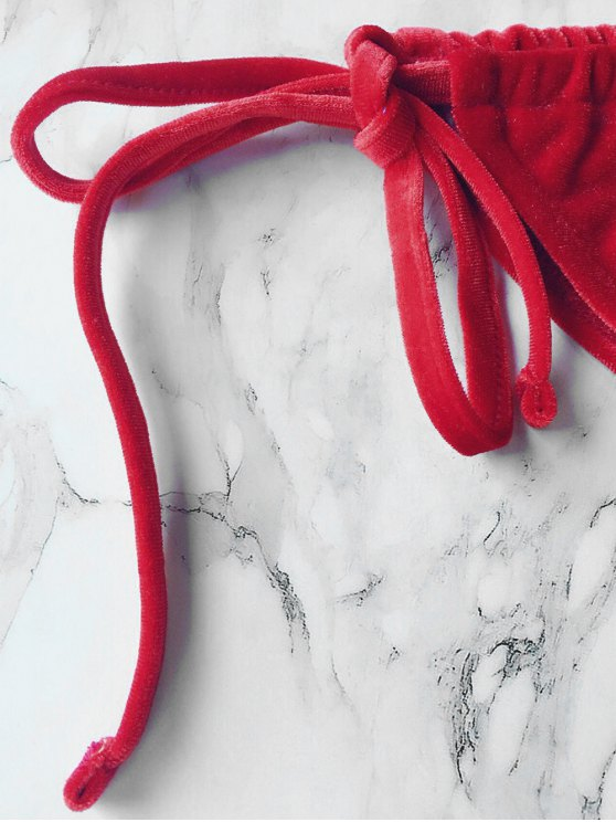 Velvet String Bikini Set - RED L Mobile
