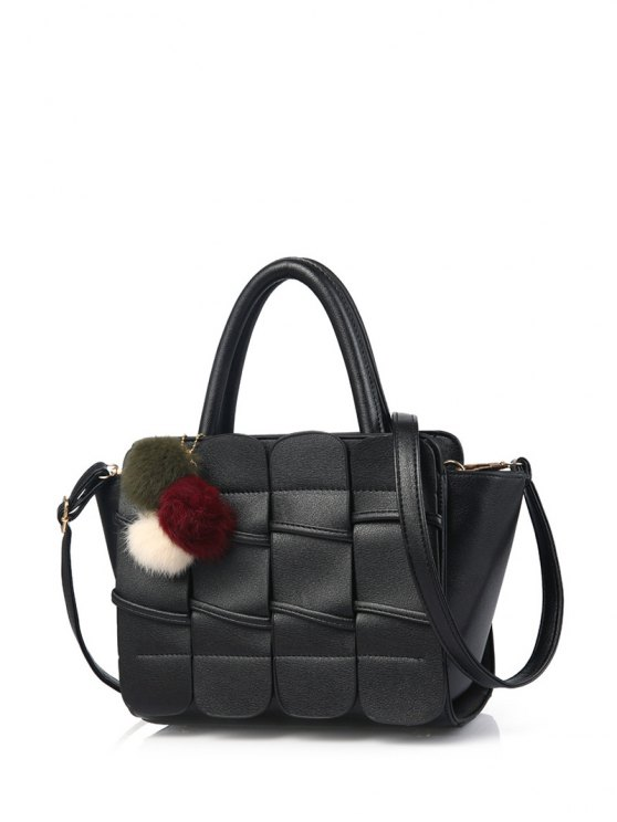 Patches Winged Pompon Detail Handbag - BLACK  Mobile