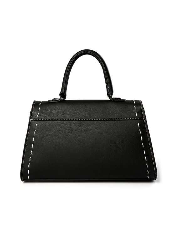 Stiching Buckle Strap Handbag - RED  Mobile