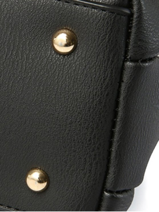 Faux Leather Handbag with Pom Pom - BLACK  Mobile