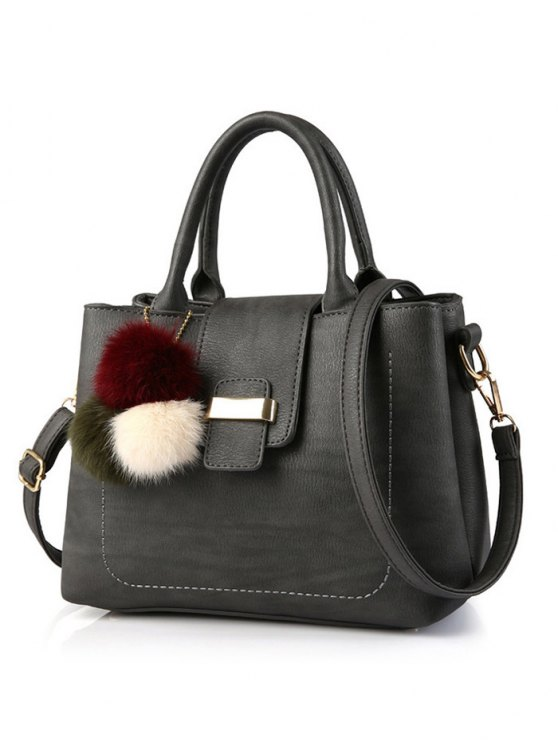Faux Leather Handbag with Pom Pom - DEEP GRAY  Mobile