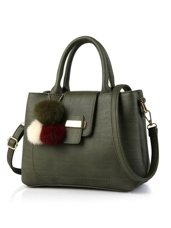 Faux Leather Handbag with Pom Pom - ARMY GREEN  Mobile