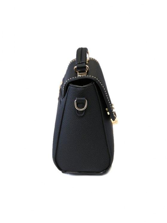 Flapped Rivet Textured Handbag - BLACKISH GREEN  Mobile