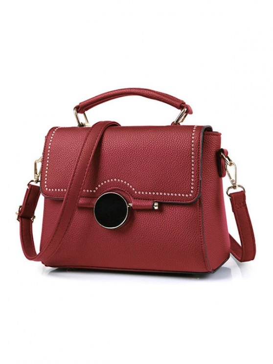Flapped Rivet Textured Handbag - WINE RED  Mobile